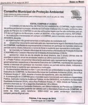 O Edital de Pelotas, abaixo, foi publicado no Jornal Diário da Manhã de 07.03.12.